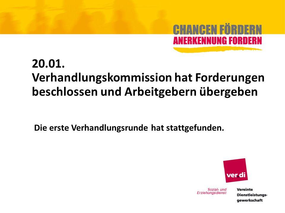 20.01. Verhandlungskommission hat Forderungen beschlossen und Arbeitgebern übergeben. Die erste Verhandlungsrunde hat stattgefunden.