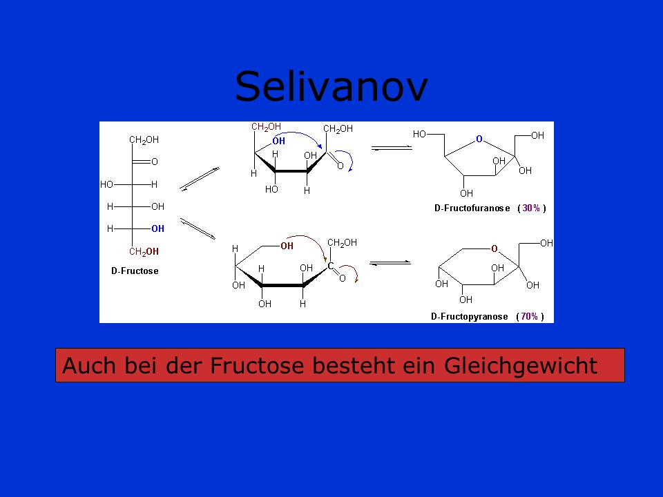 Selivanov Auch bei der Fructose besteht ein Gleichgewicht