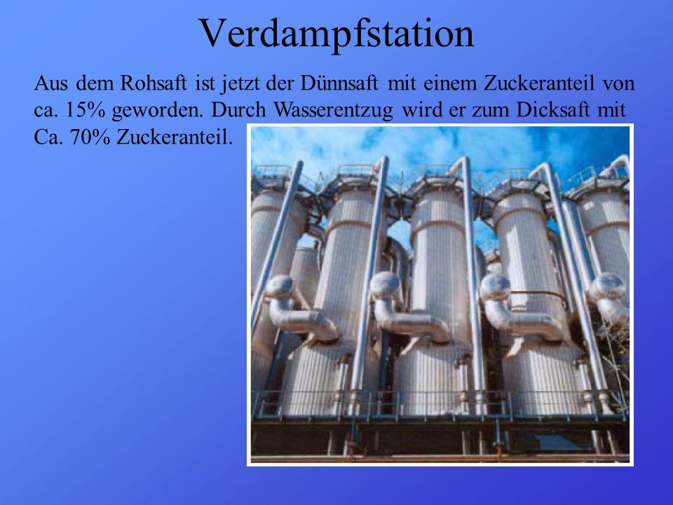 Verdampfstation Aus dem Rohsaft ist jetzt der Dünnsaft mit einem Zuckeranteil von. ca. 15% geworden. Durch Wasserentzug wird er zum Dicksaft mit.