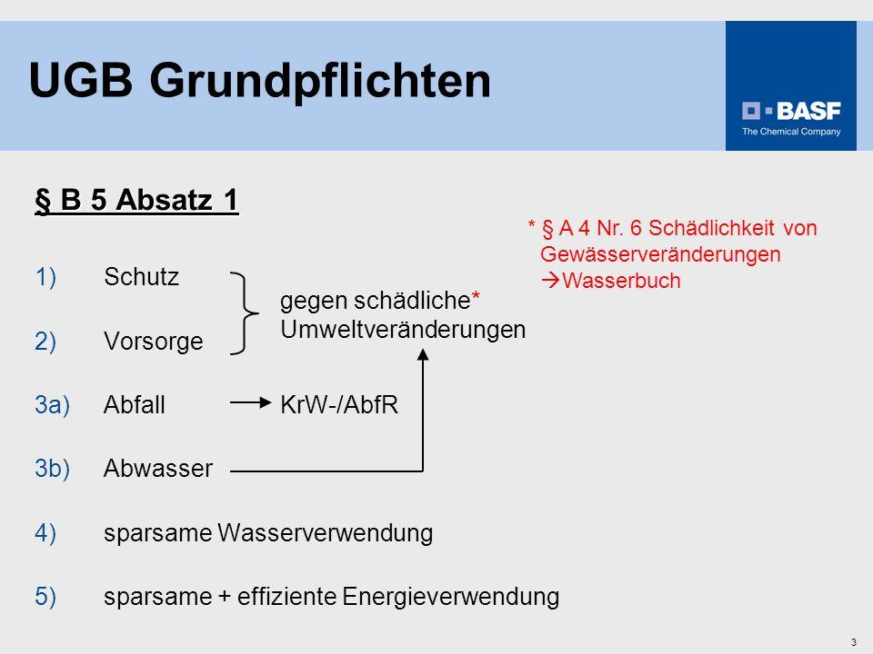 UGB Grundpflichten § B 5 Absatz 1 1) Schutz 2) Vorsorge