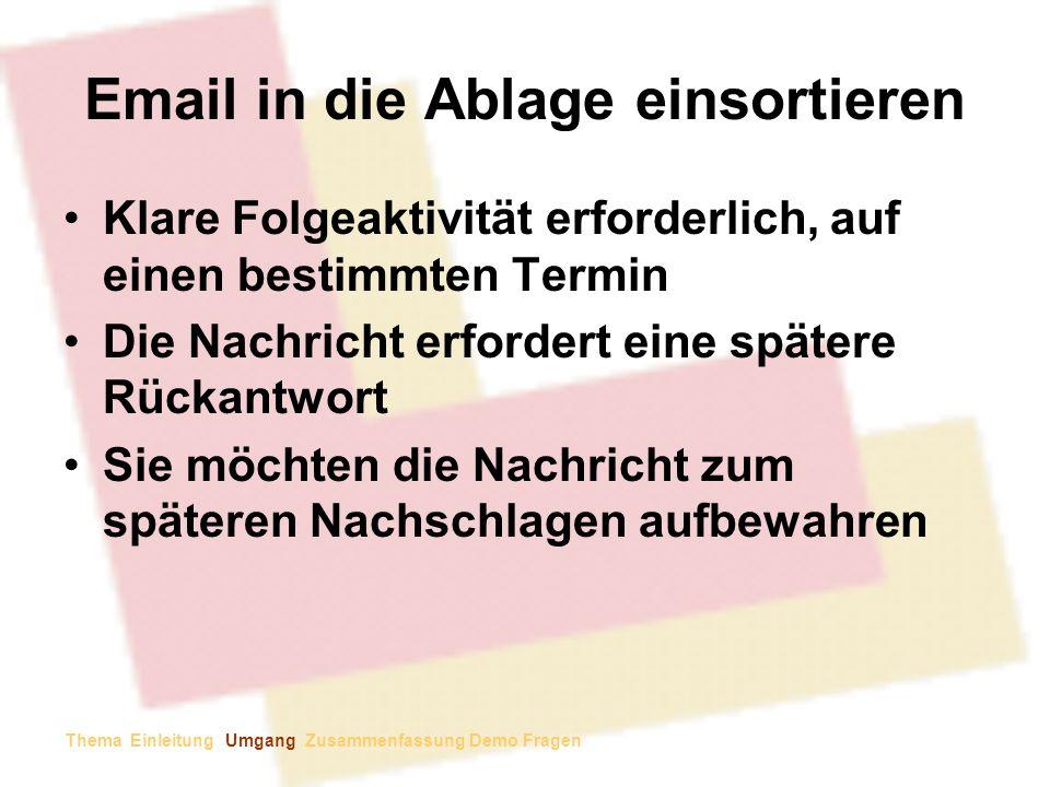 Email in die Ablage einsortieren