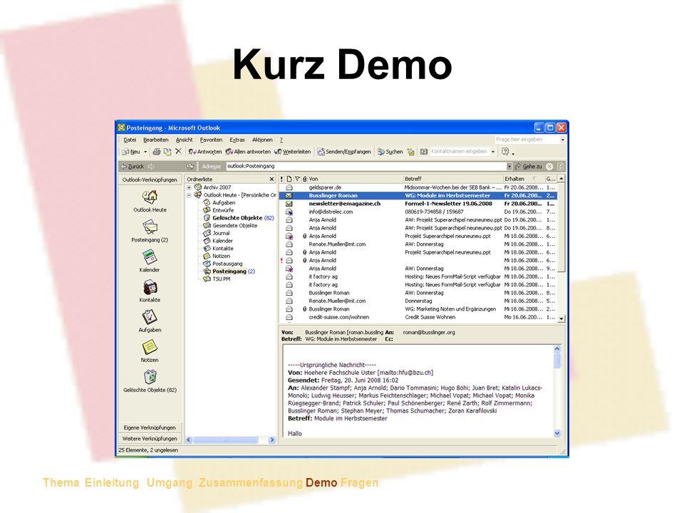 Kurz Demo Email in Kalender wandeln Email in Aufgabe wandeln