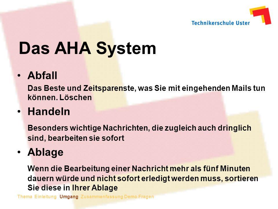 Das AHA System Abfall Handeln