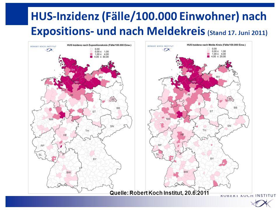 HUS-Inzidenz (Fälle/100.000 Einwohner) nach Expositions- und nach Meldekreis (Stand 17. Juni 2011)