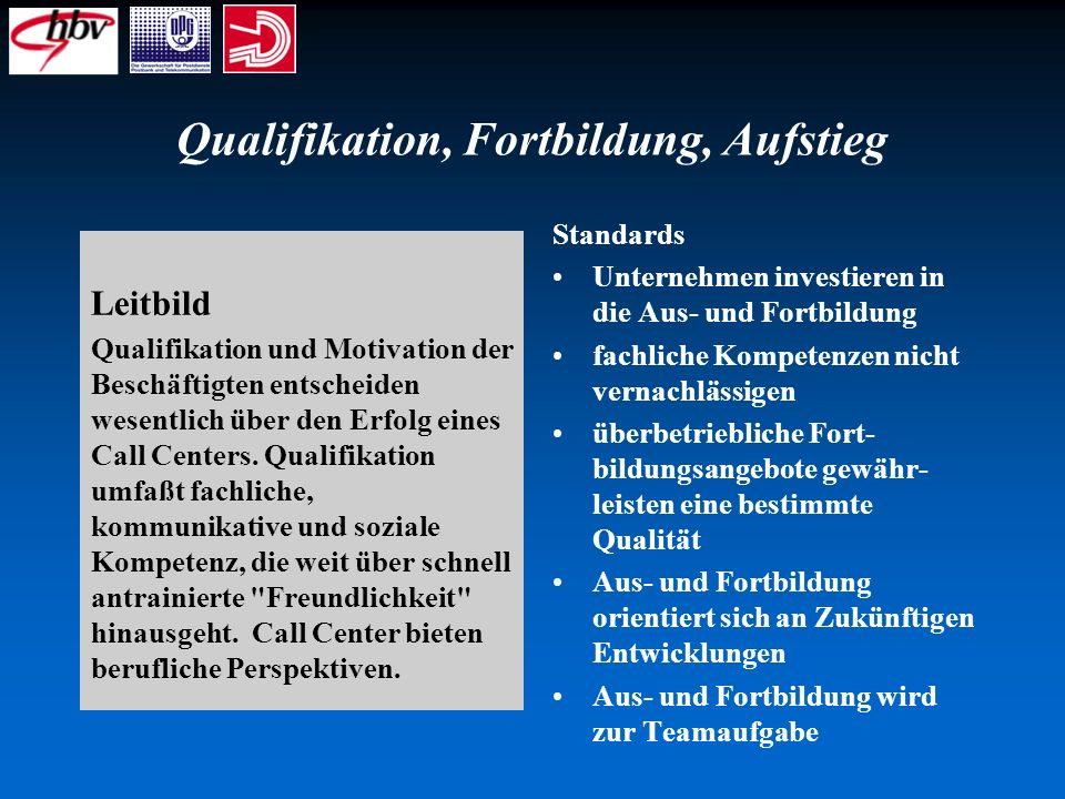 Qualifikation, Fortbildung, Aufstieg