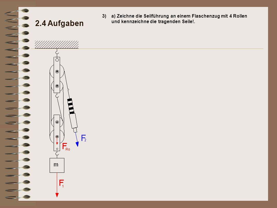 3) a) Zeichne die Seilführung an einem Flaschenzug mit 4 Rollen und kennzeichne die tragenden Seile!.