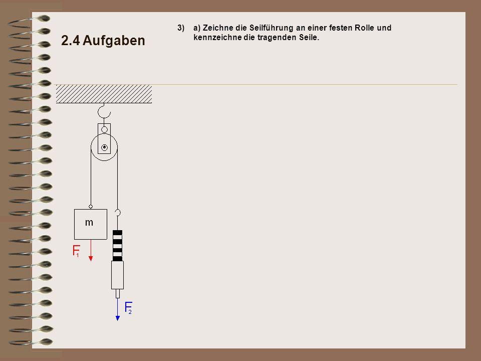 3) a) Zeichne die Seilführung an einer festen Rolle und kennzeichne die tragenden Seile.