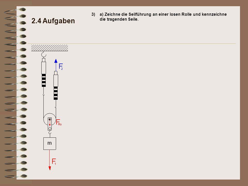 3) a) Zeichne die Seilführung an einer losen Rolle und kennzeichne die tragenden Seile.
