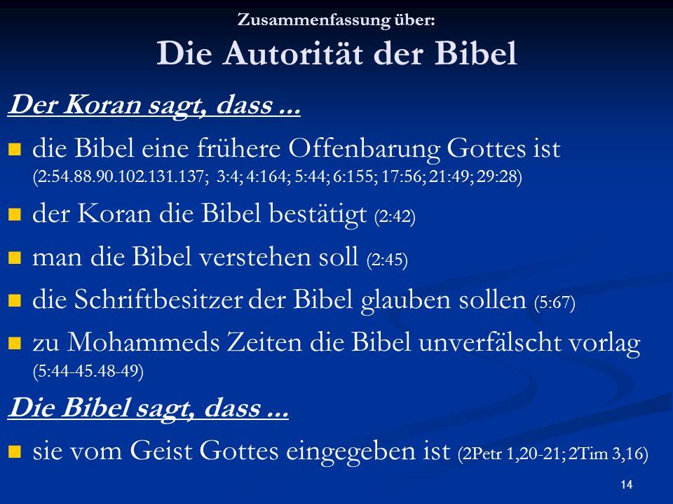 Zusammenfassung über: Die Autorität der Bibel