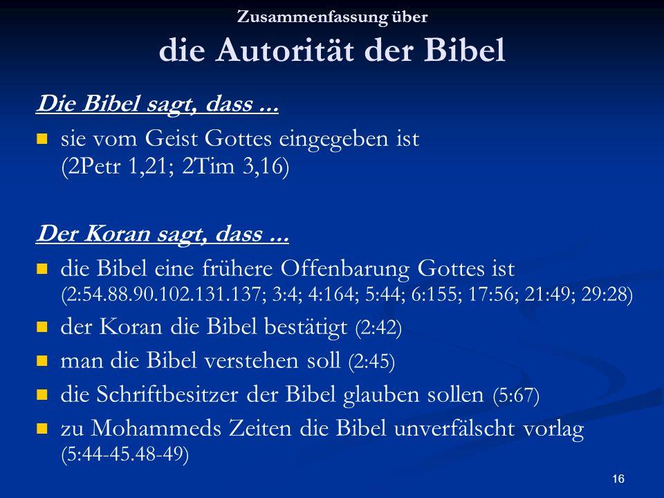 Zusammenfassung über die Autorität der Bibel