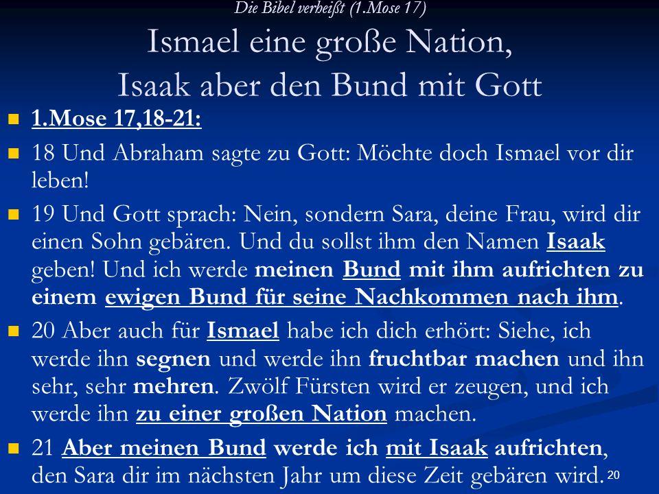 18 Und Abraham sagte zu Gott: Möchte doch Ismael vor dir leben!