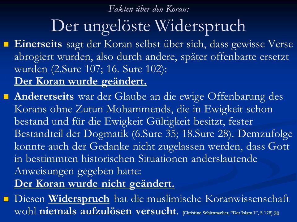 Fakten über den Koran: Der ungelöste Widerspruch