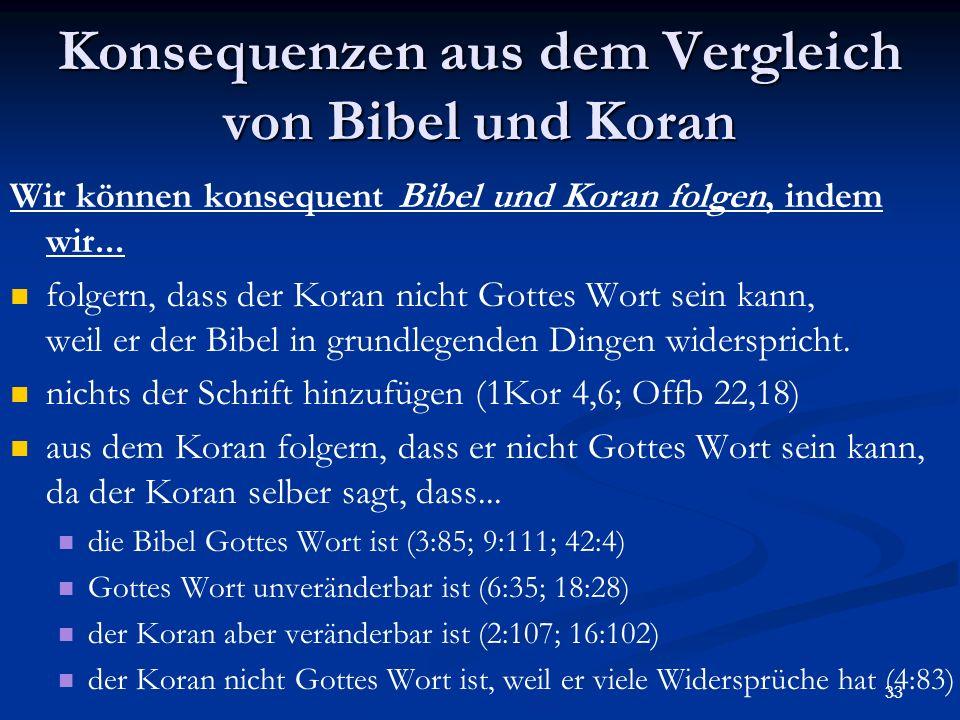 Konsequenzen aus dem Vergleich von Bibel und Koran