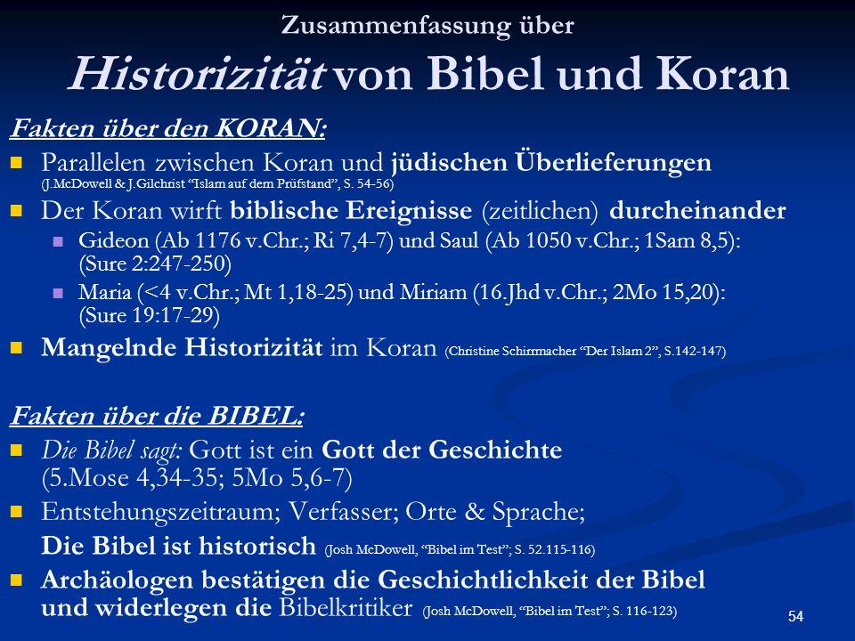 Zusammenfassung über Historizität von Bibel und Koran