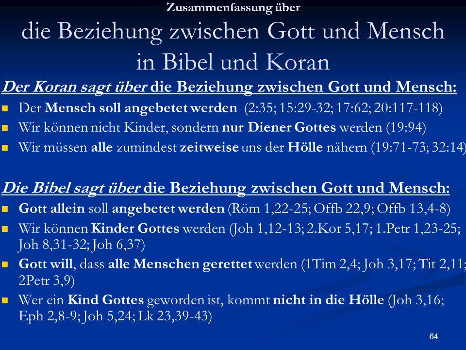 Der Koran sagt über die Beziehung zwischen Gott und Mensch: