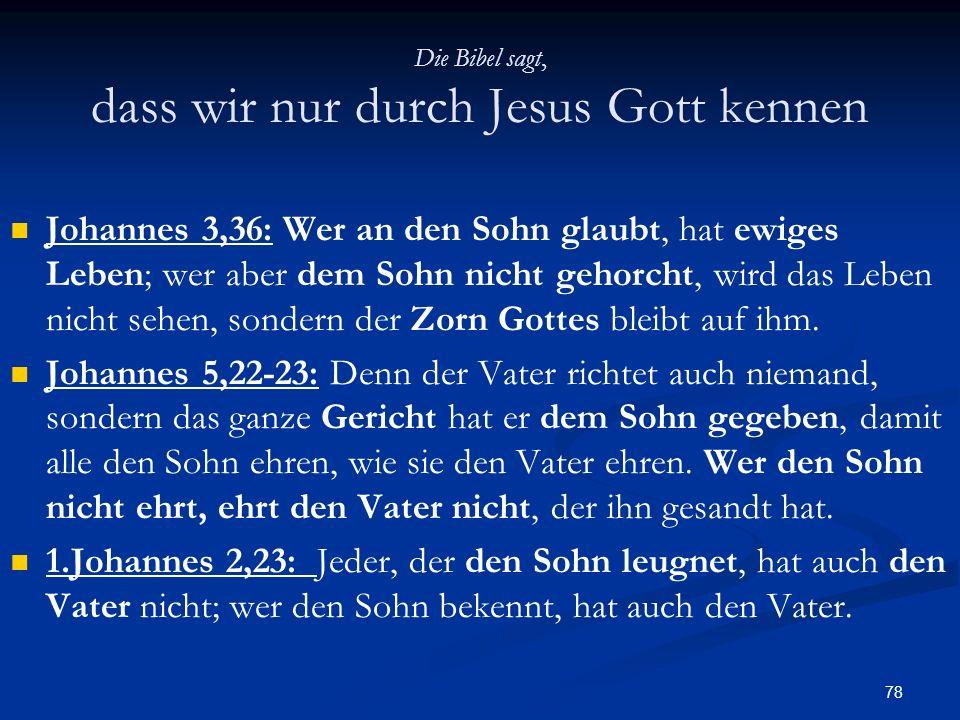 Die Bibel sagt, dass wir nur durch Jesus Gott kennen