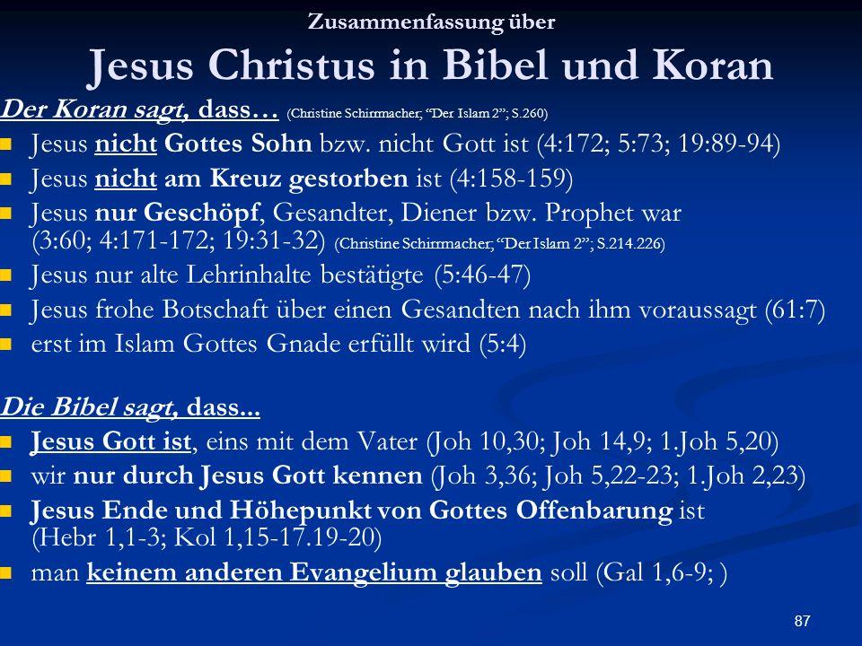 Zusammenfassung über Jesus Christus in Bibel und Koran