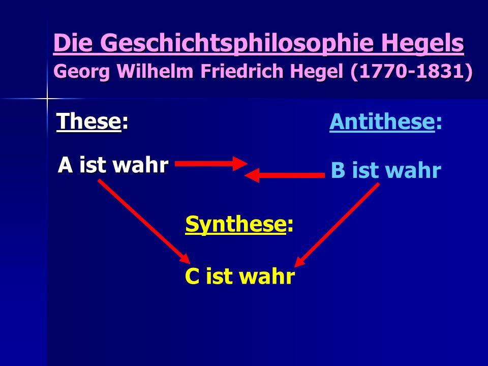 Die Geschichtsphilosophie Hegels Georg Wilhelm Friedrich Hegel (1770-1831)