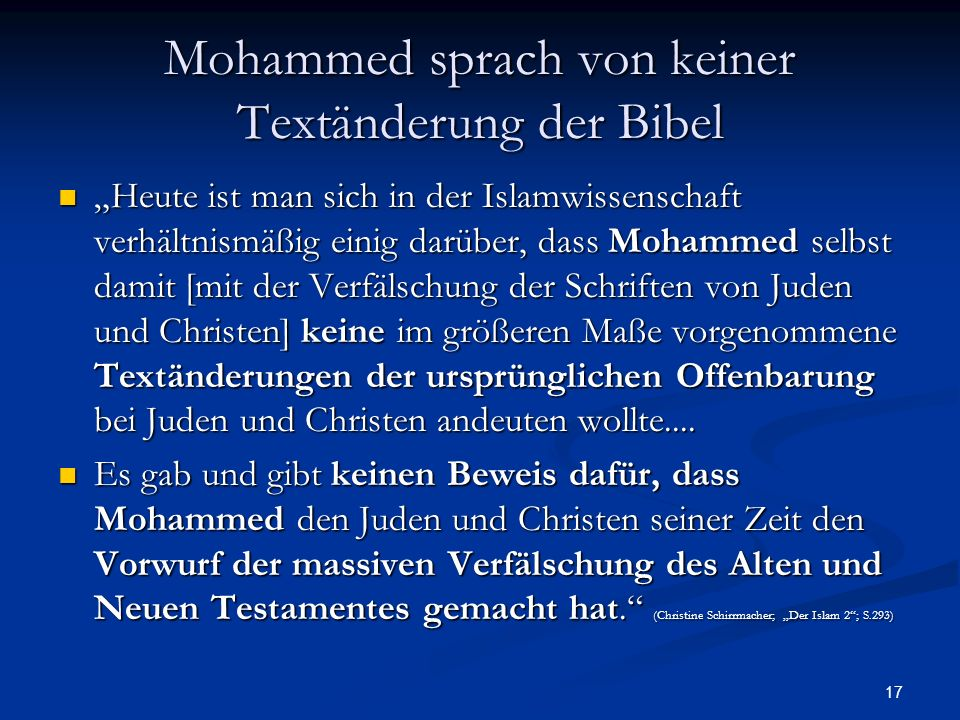 Mohammed sprach von keiner Textänderung der Bibel