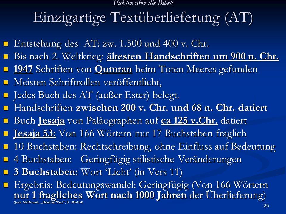 Fakten über die Bibel: Einzigartige Textüberlieferung (AT)