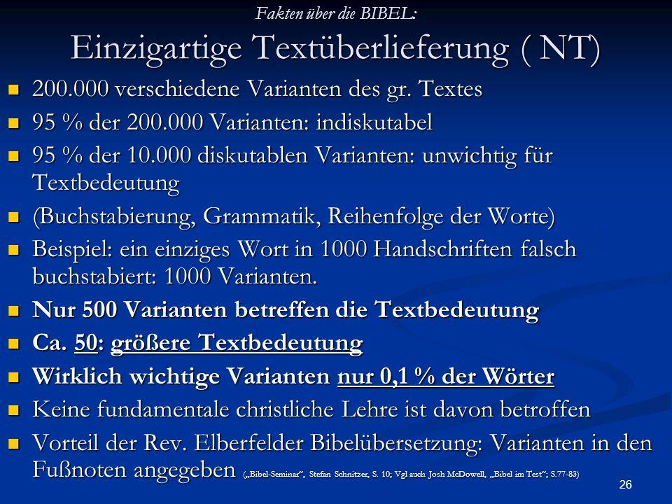 Fakten über die BIBEL: Einzigartige Textüberlieferung ( NT)