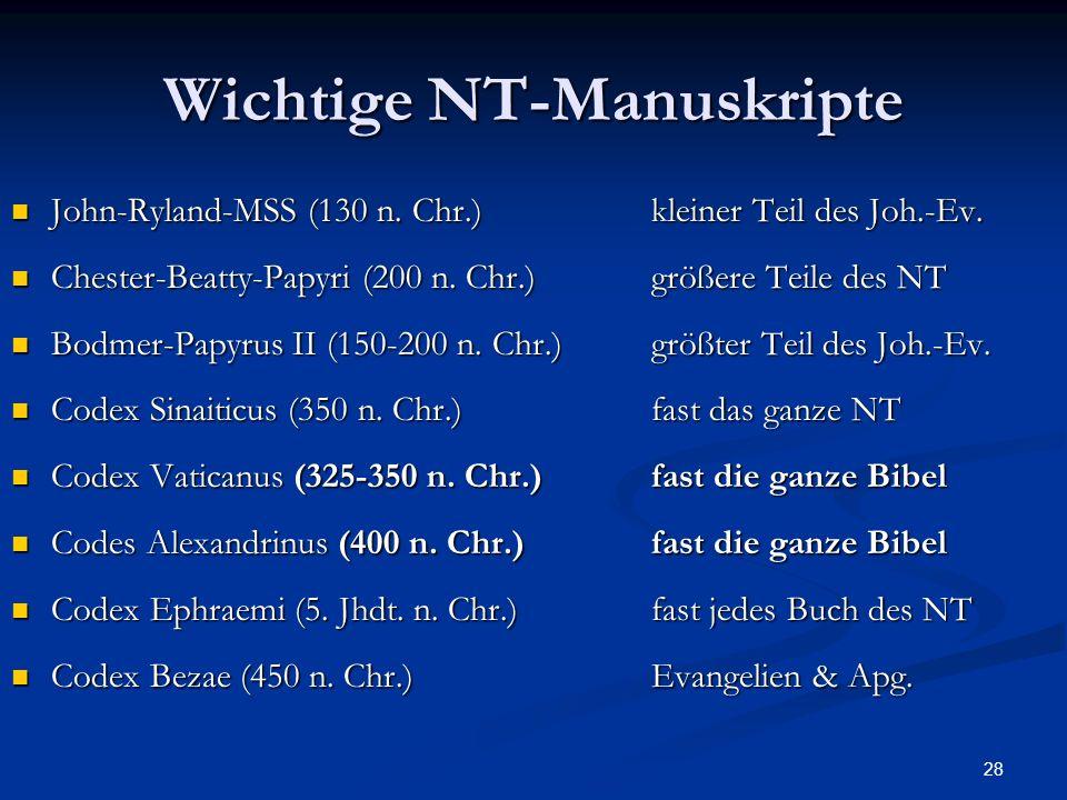 Wichtige NT-Manuskripte
