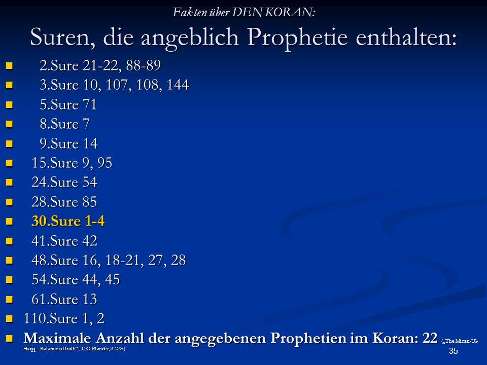 Fakten über DEN KORAN: Suren, die angeblich Prophetie enthalten: