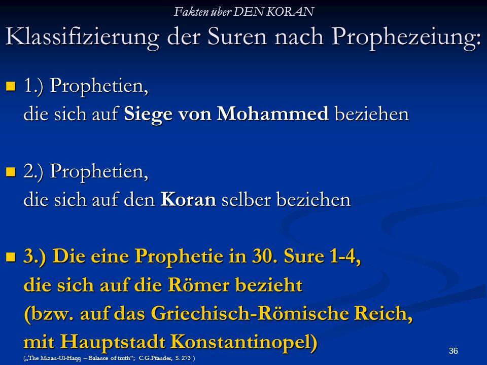 Fakten über DEN KORAN Klassifizierung der Suren nach Prophezeiung: