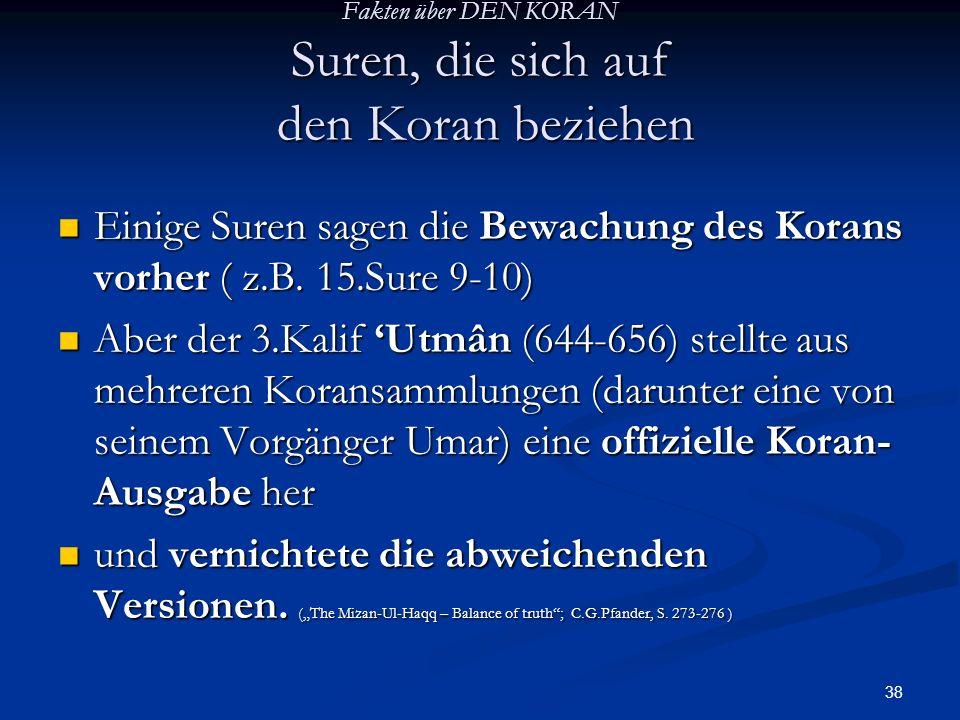 Fakten über DEN KORAN Suren, die sich auf den Koran beziehen