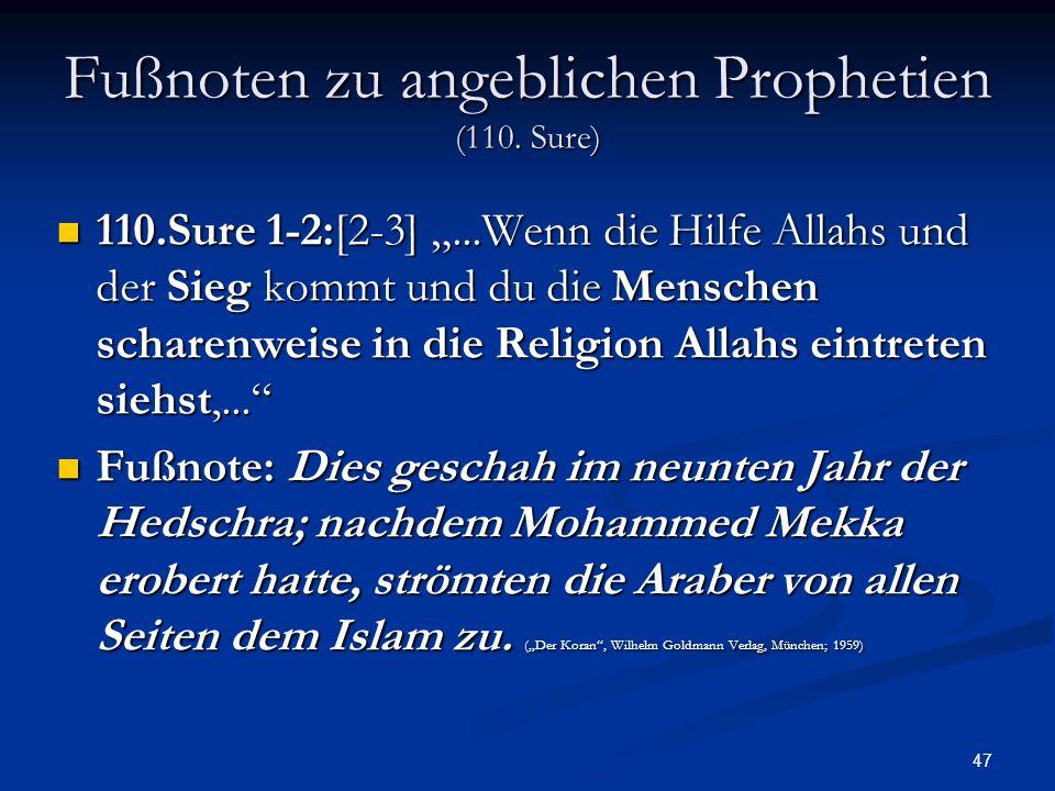 Fußnoten zu angeblichen Prophetien (110. Sure)