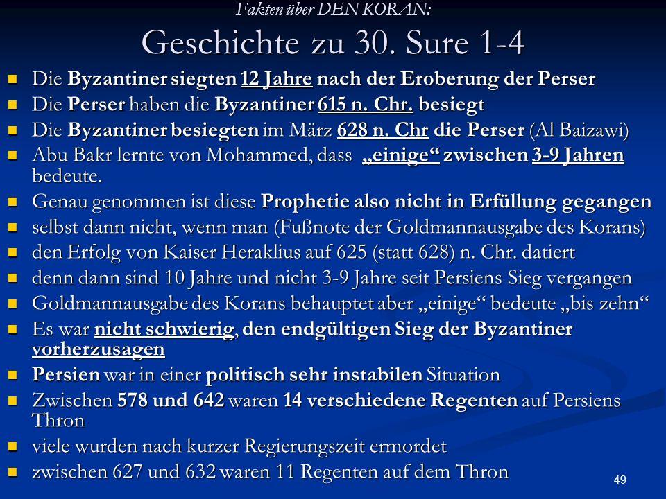 Fakten über DEN KORAN: Geschichte zu 30. Sure 1-4