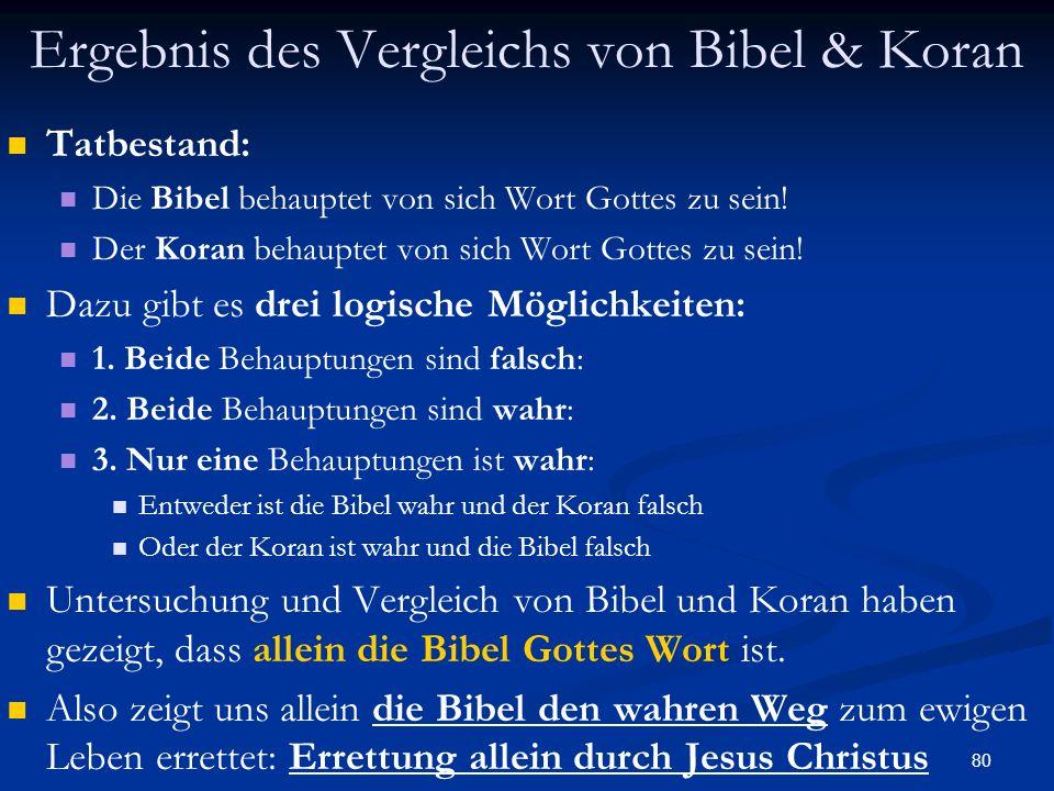 Ergebnis des Vergleichs von Bibel & Koran