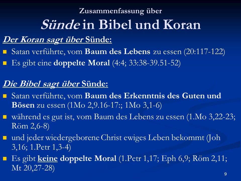 Zusammenfassung über Sünde in Bibel und Koran