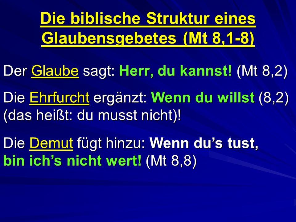 Die biblische Struktur eines Glaubensgebetes (Mt 8,1-8)