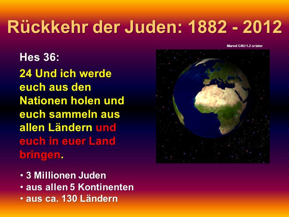 Rückkehr der Juden: 1882 - 2012 Hes 36: