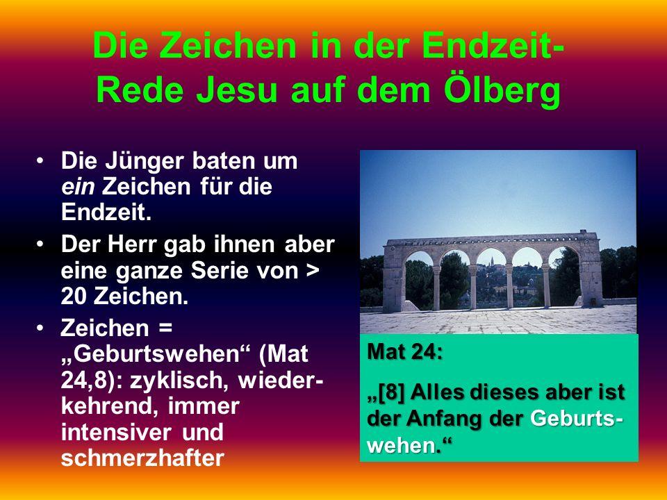 Die Zeichen in der Endzeit-Rede Jesu auf dem Ölberg