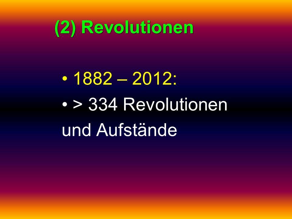 (2) Revolutionen 1882 – 2012: > 334 Revolutionen und Aufstände