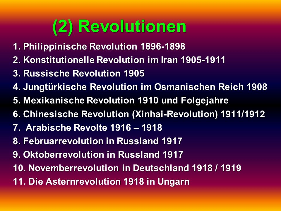 (2) Revolutionen 1. Philippinische Revolution 1896-1898