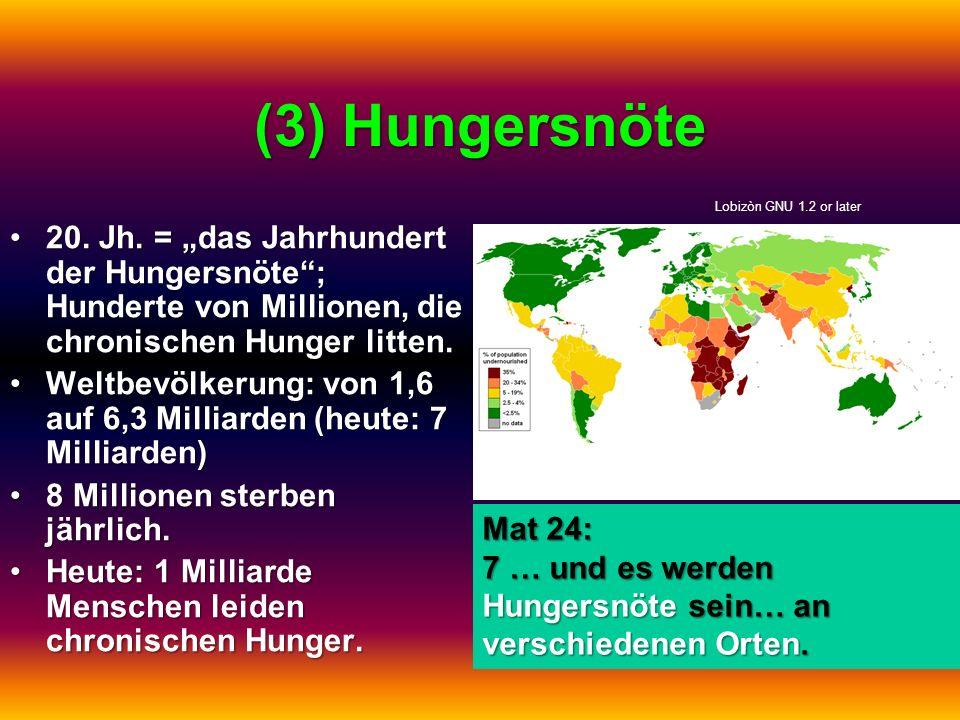 """(3) Hungersnöte Lobizòn GNU 1.2 or later. 20. Jh. = """"das Jahrhundert der Hungersnöte ; Hunderte von Millionen, die chronischen Hunger litten."""