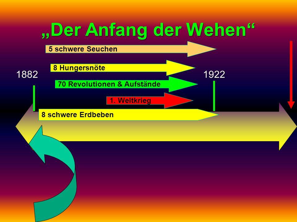 """""""Der Anfang der Wehen 1882 1922 5 schwere Seuchen 8 Hungersnöte"""