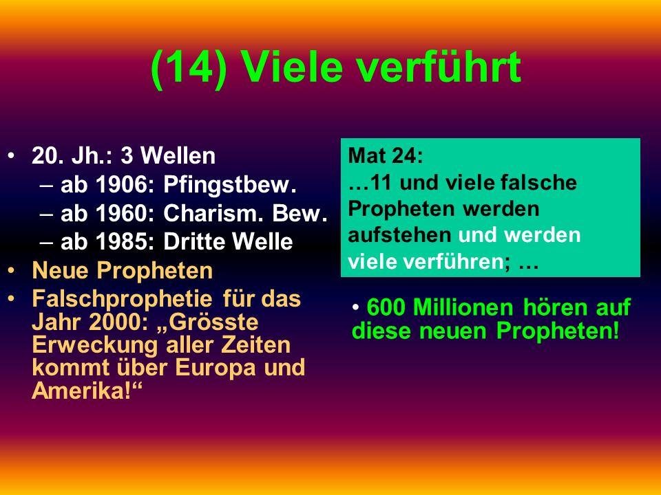 (14) Viele verführt 20. Jh.: 3 Wellen ab 1906: Pfingstbew.