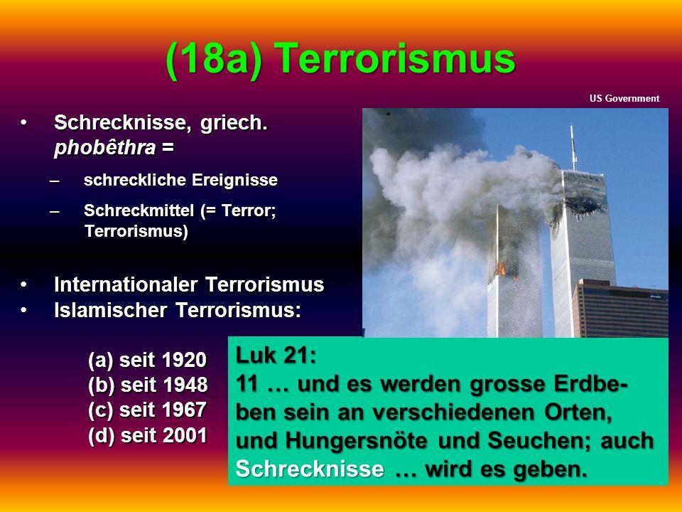 (18a) Terrorismus US Government. Schrecknisse, griech. phobêthra = schreckliche Ereignisse. Schreckmittel (= Terror; Terrorismus)