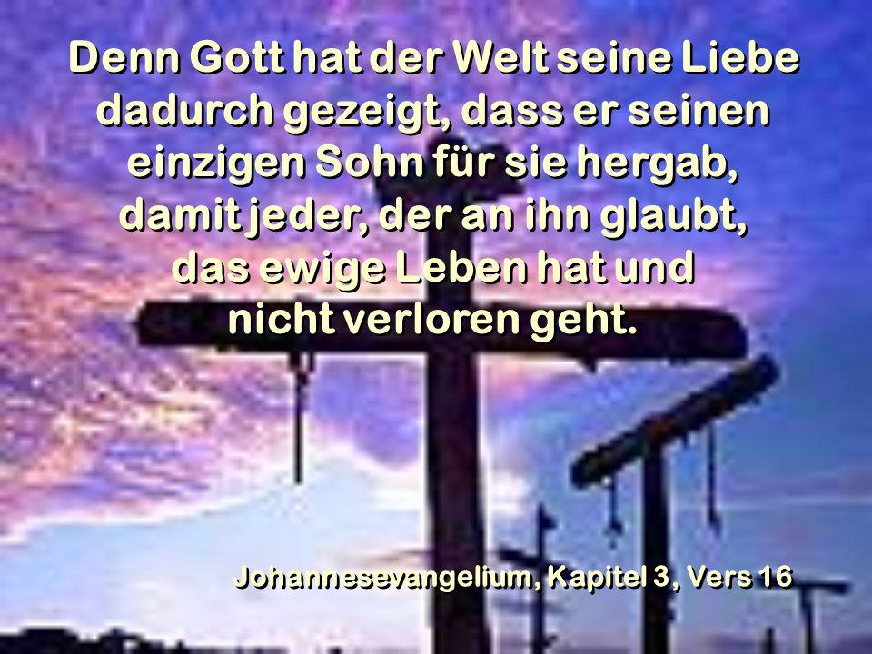 Denn Gott hat der Welt seine Liebe dadurch gezeigt, dass er seinen einzigen Sohn für sie hergab, damit jeder, der an ihn glaubt, das ewige Leben hat und nicht verloren geht.