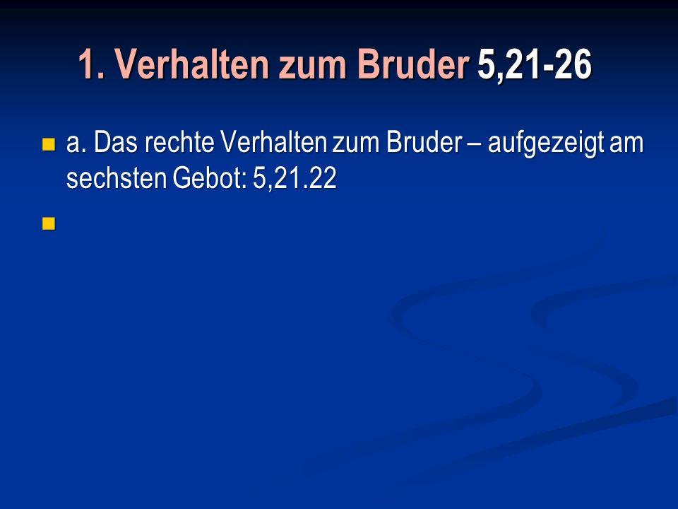 1. Verhalten zum Bruder 5,21-26 a.