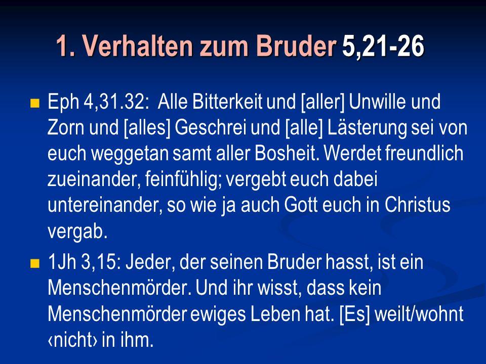 1. Verhalten zum Bruder 5,21-26