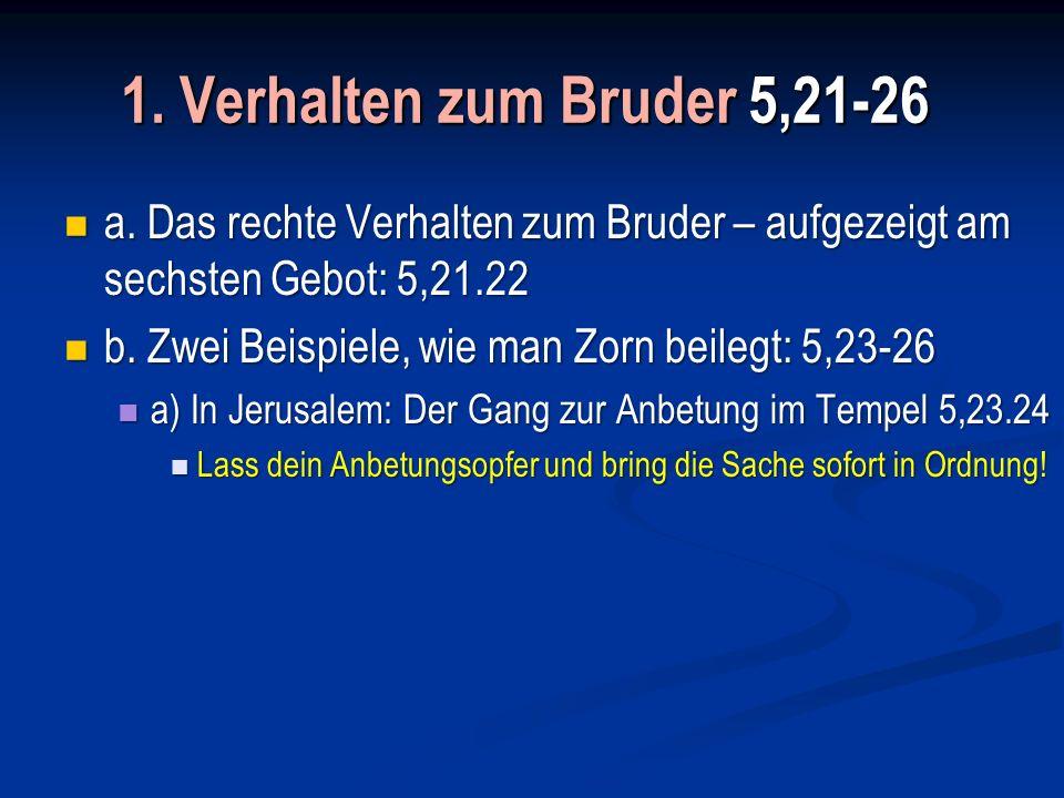 1. Verhalten zum Bruder 5,21-26 a. Das rechte Verhalten zum Bruder – aufgezeigt am sechsten Gebot: 5,21.22.