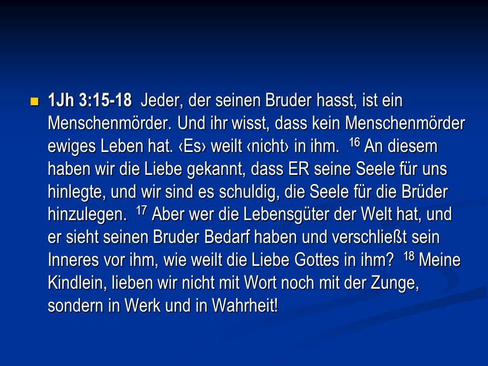 1Jh 3:15-18 Jeder, der seinen Bruder hasst, ist ein Menschenmörder