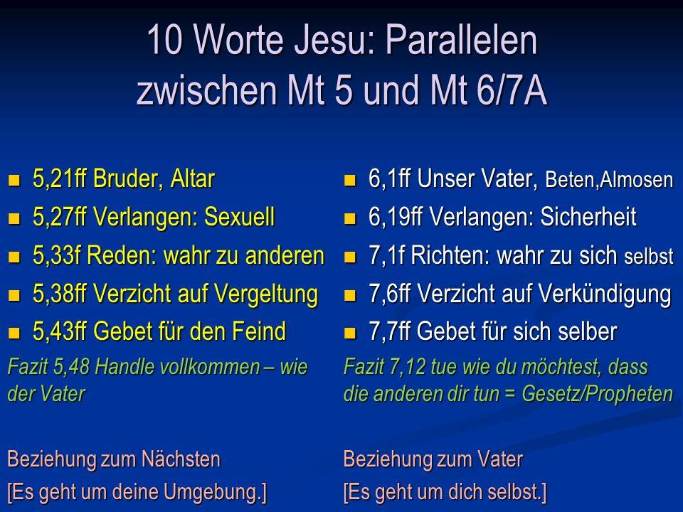 10 Worte Jesu: Parallelen zwischen Mt 5 und Mt 6/7A