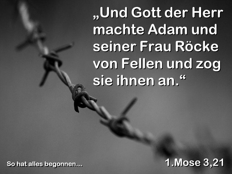 """""""Und Gott der Herr machte Adam und seiner Frau Röcke von Fellen und zog sie ihnen an."""
