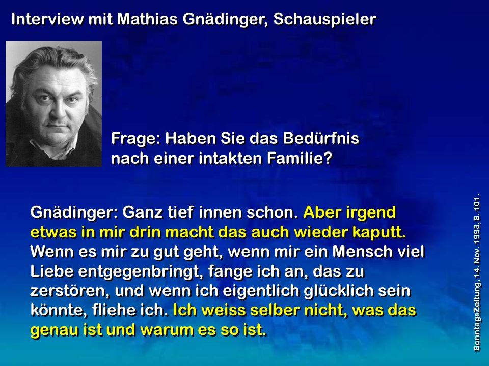 Interview mit Mathias Gnädinger, Schauspieler